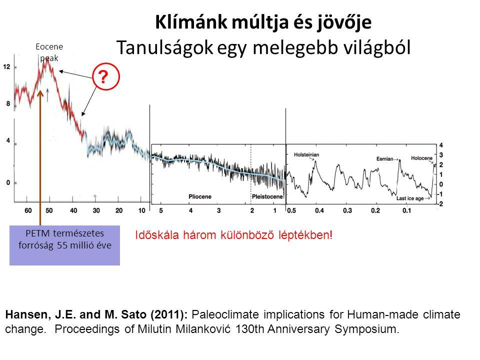 Eocene peak Klímánk múltja és jövője Tanulságok egy melegebb világból PETM természetes forróság 55 millió éve Hansen, J.E. and M. Sato (2011): Paleocl