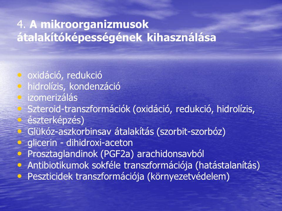 4. A mikroorganizmusok átalakítóképességének kihasználása oxidáció, redukció hidrolízis, kondenzáció izomerizálás Szteroid-transzformációk (oxidáció,