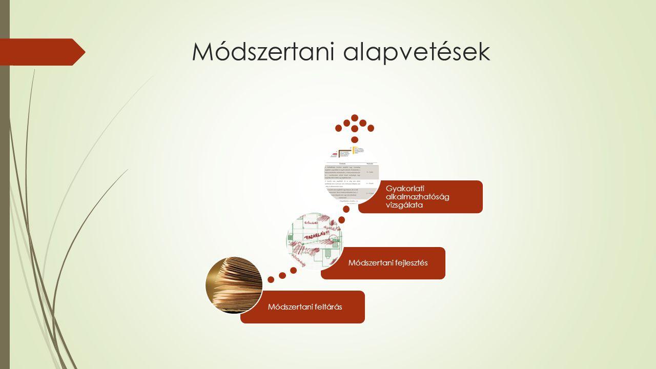 Módszertani alapvetések Módszertani feltárásMódszertani fejlesztés Gyakorlati alkalmazhatóság vizsgálata