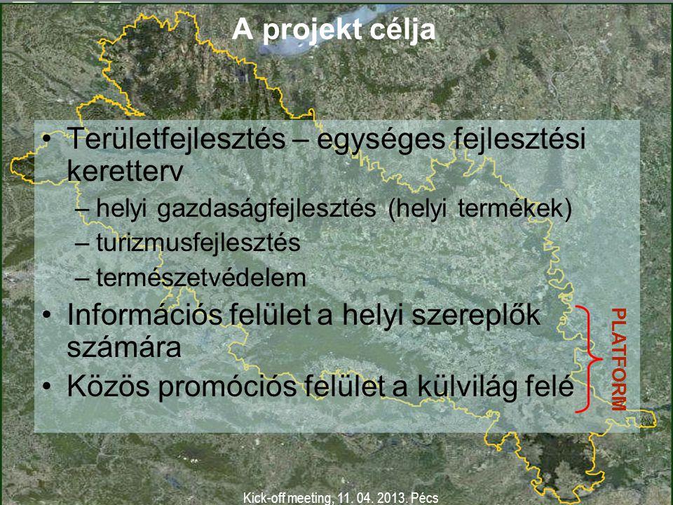 Kick-off meeting, 11. 04. 2013. Pécs A projekt kimenete Általános keretterv Kézikönyv Platform