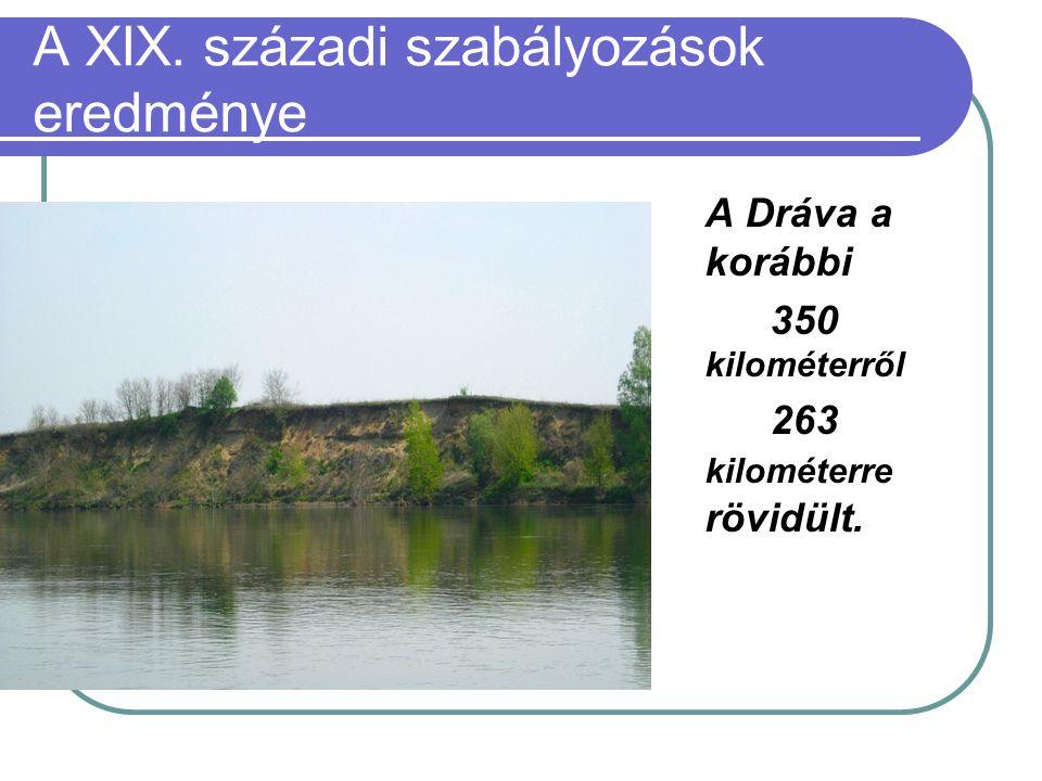 A XIX. századi szabályozások eredménye A Dráva a korábbi 350 kilométerről 263 kilométerre rövidült.