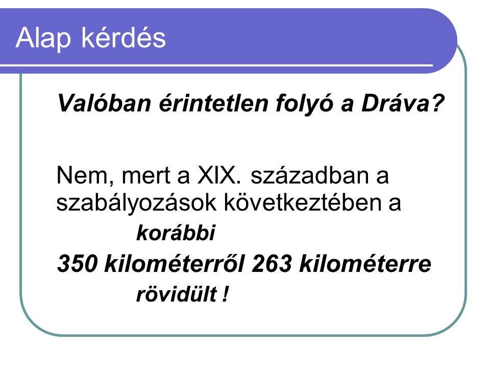 Alap kérdés Valóban érintetlen folyó a Dráva? Nem, mert a XIX. században a szabályozások következtében a korábbi 350 kilométerről 263 kilométerre rövi