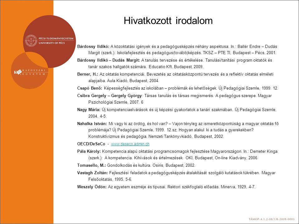 Hivatkozott irodalom Bárdossy Ildikó: A közoktatási igények és a pedagógusképzés néhány aspektusa. In.: Ballér Endre – Dudás Margit (szerk.): Iskolafe