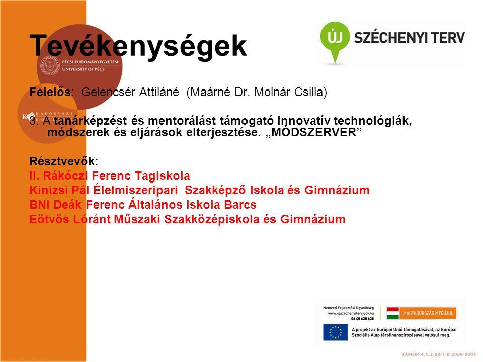 Tevékenységek Felelős: Gelencsér Attiláné (Maárné Dr. Molnár Csilla) 3. A tanárképzést és mentorálást támogató innovatív technológiák, módszerek és el