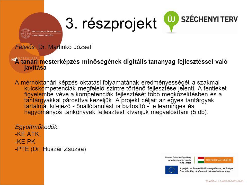 3. részprojekt Felelős: Dr. Martinkó József A tanári mesterképzés minőségének digitális tananyag fejlesztéssel való javítása A mérnöktanári képzés okt