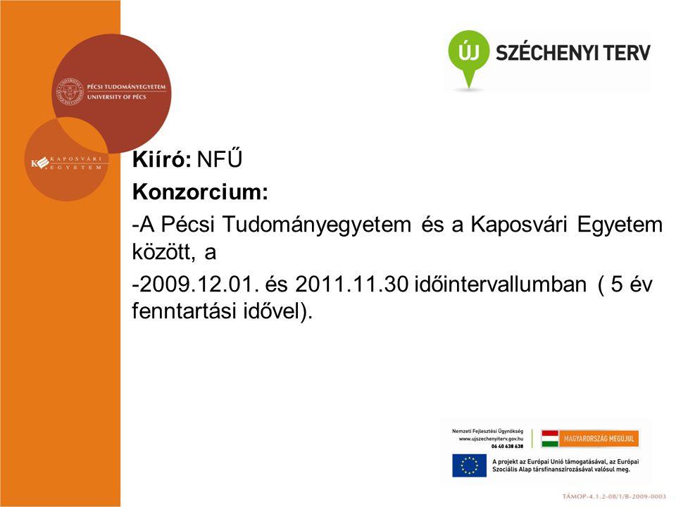 Kiíró: NFŰ Konzorcium: -A Pécsi Tudományegyetem és a Kaposvári Egyetem között, a -2009.12.01. és 2011.11.30 időintervallumban ( 5 év fenntartási időve