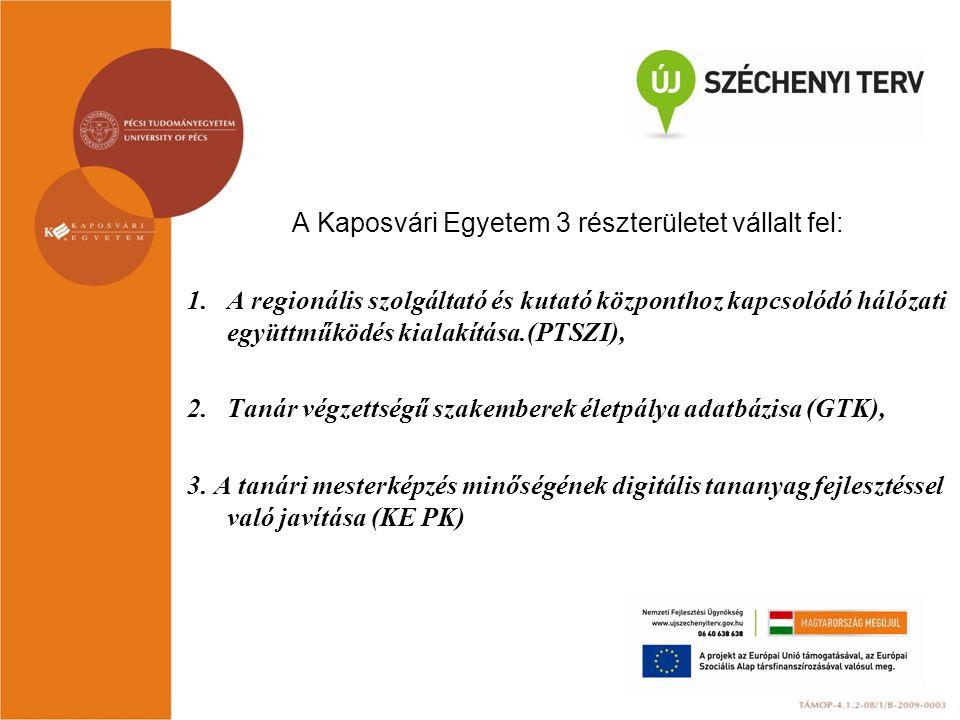 A Kaposvári Egyetem 3 részterületet vállalt fel: 1.A regionális szolgáltató és kutató központhoz kapcsolódó hálózati együttműködés kialakítása.(PTSZI)