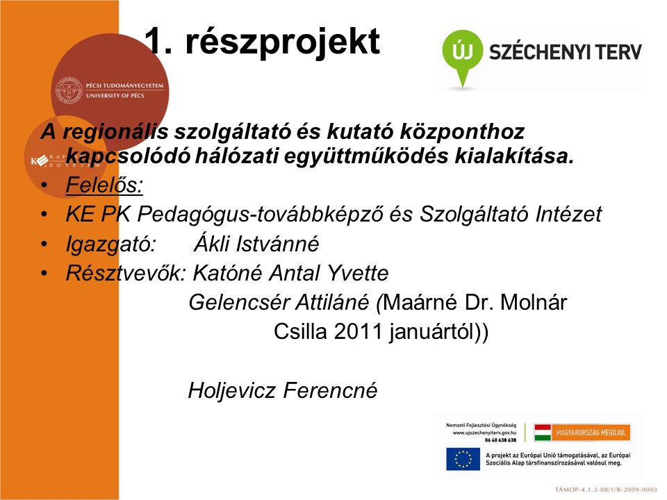 1. részprojekt A regionális szolgáltató és kutató központhoz kapcsolódó hálózati együttműködés kialakítása. Felelős: KE PK Pedagógus-továbbképző és Sz