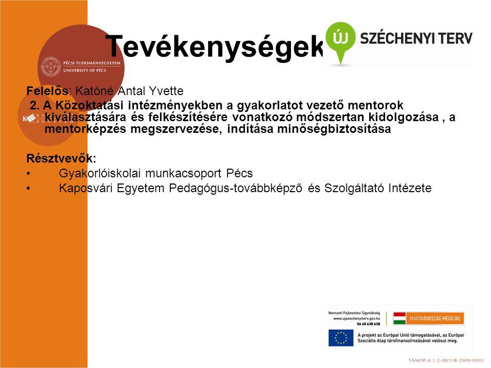 Tevékenységek Felelős: Katóné Antal Yvette 2. A Közoktatási intézményekben a gyakorlatot vezető mentorok kiválasztására és felkészítésére vonatkozó mó