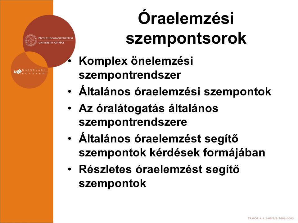 Óraelemzési szempontsorok Komplex önelemzési szempontrendszer Általános óraelemzési szempontok Az óralátogatás általános szempontrendszere Általános ó