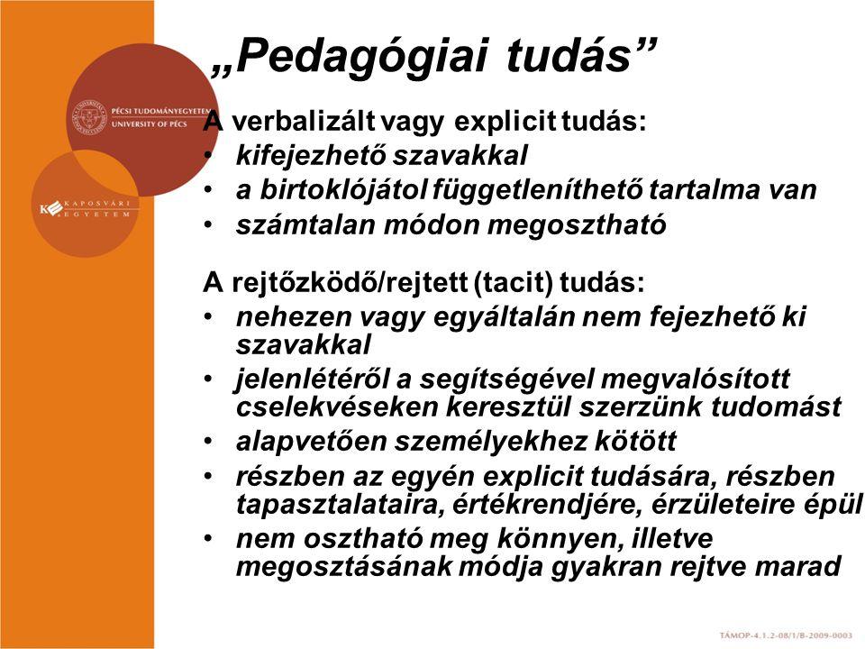 """""""Pedagógiai tudás"""" A verbalizált vagy explicit tudás: kifejezhető szavakkal a birtoklójátol függetleníthető tartalma van számtalan módon megosztható A"""