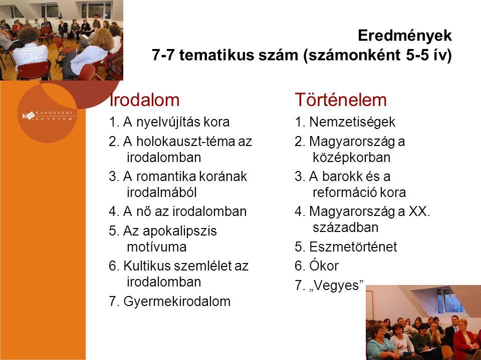 Eredmények 7-7 tematikus szám (számonként 5-5 ív) Irodalom 1. A nyelvújítás kora 2. A holokauszt-téma az irodalomban 3. A romantika korának irodalmábó