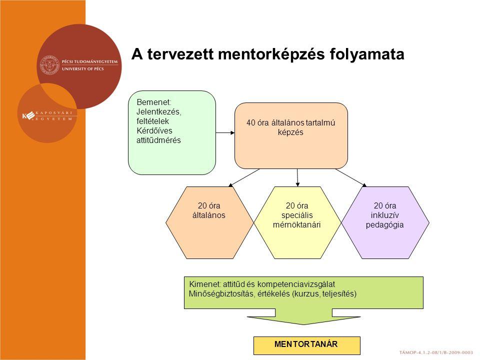 A tervezett mentorképzés folyamata Bemenet: Jelentkezés, feltételek Kérdőíves attitűdmérés 40 óra általános tartalmú képzés 20 óra speciális mérnöktan