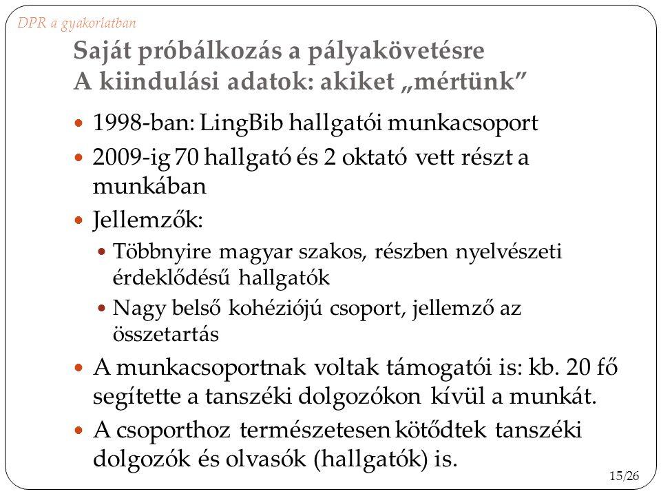 1998-ban: LingBib hallgatói munkacsoport 2009-ig 70 hallgató és 2 oktató vett részt a munkában Jellemzők: Többnyire magyar szakos, részben nyelvészeti