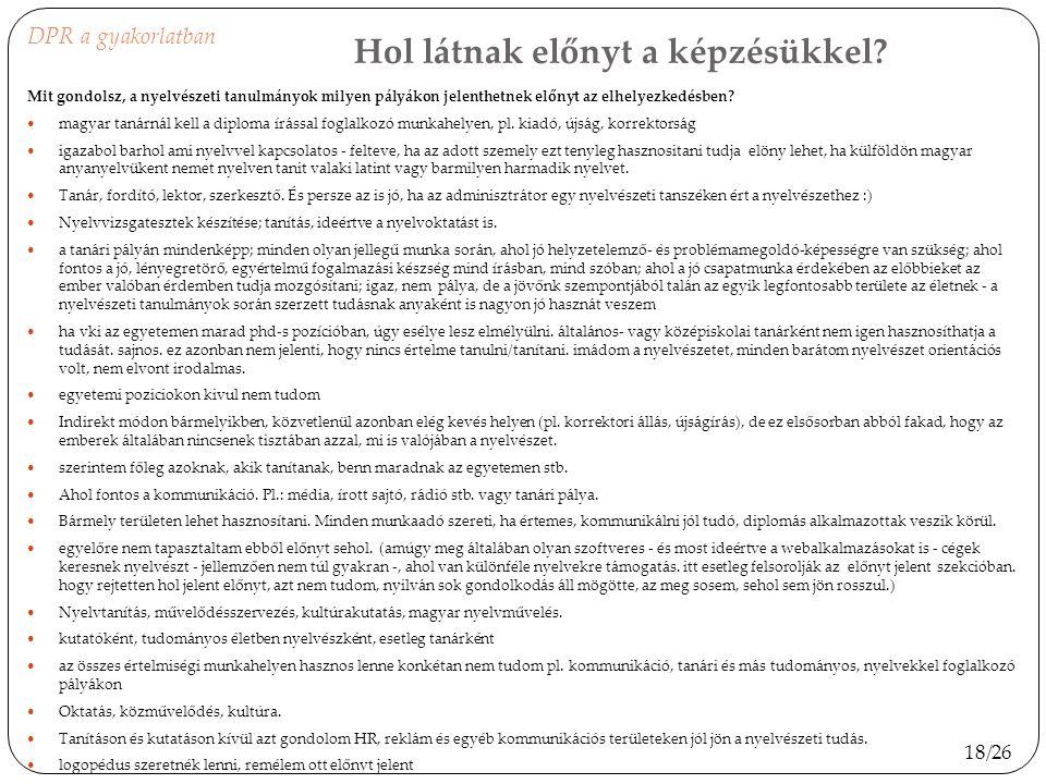Hol látnak előnyt a képzésükkel? Mit gondolsz, a nyelvészeti tanulmányok milyen pályákon jelenthetnek előnyt az elhelyezkedésben? magyar tanárnál kell