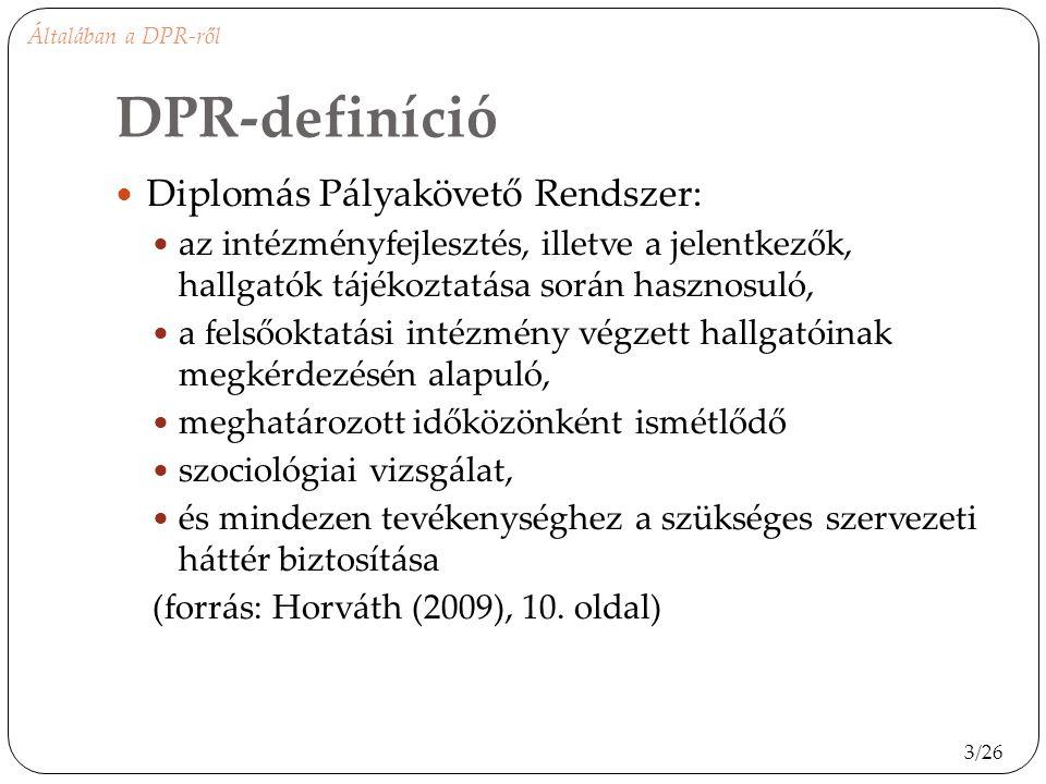 DPR-definíció Diplomás Pályakövető Rendszer: az intézményfejlesztés, illetve a jelentkezők, hallgatók tájékoztatása során hasznosuló, a felsőoktatási