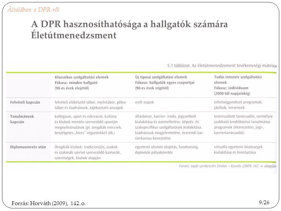 9/26 Forrás: Horváth (2009), 142. o. A DPR hasznosíthatósága a hallgatók számára Életútmenedzsment Általában a DPR-ről