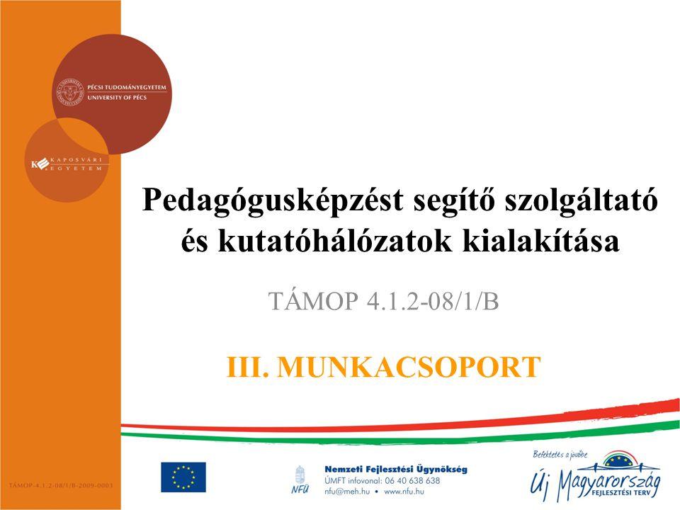 Pedagógusképzést segítő szolgáltató és kutatóhálózatok kialakítása TÁMOP 4.1.2-08/1/B III. MUNKACSOPORT