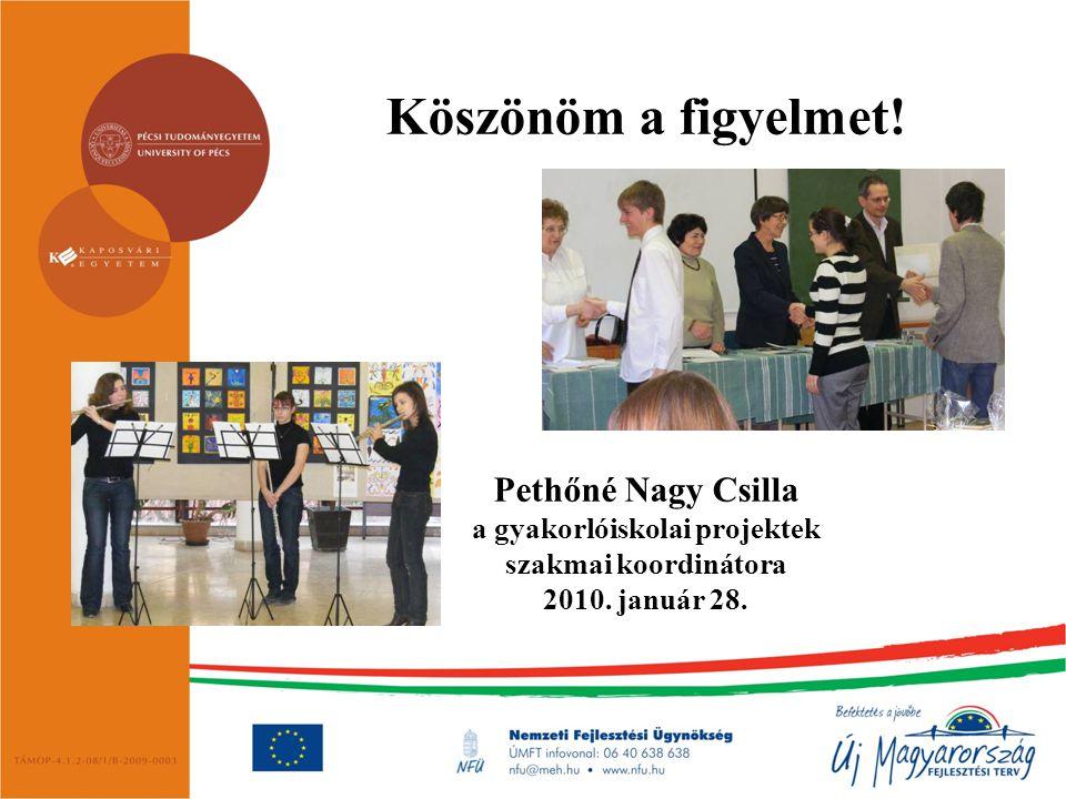 Köszönöm a figyelmet! Pethőné Nagy Csilla a gyakorlóiskolai projektek szakmai koordinátora 2010. január 28.