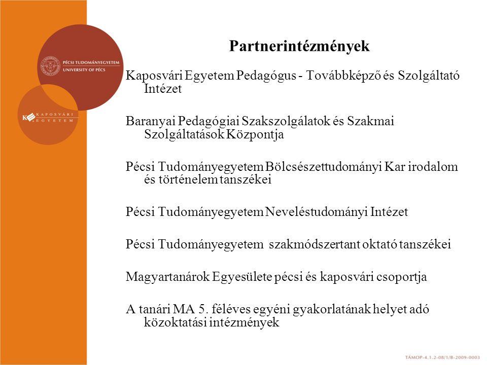 Partnerintézmények Kaposvári Egyetem Pedagógus - Továbbképző és Szolgáltató Intézet Baranyai Pedagógiai Szakszolgálatok és Szakmai Szolgáltatások Közp