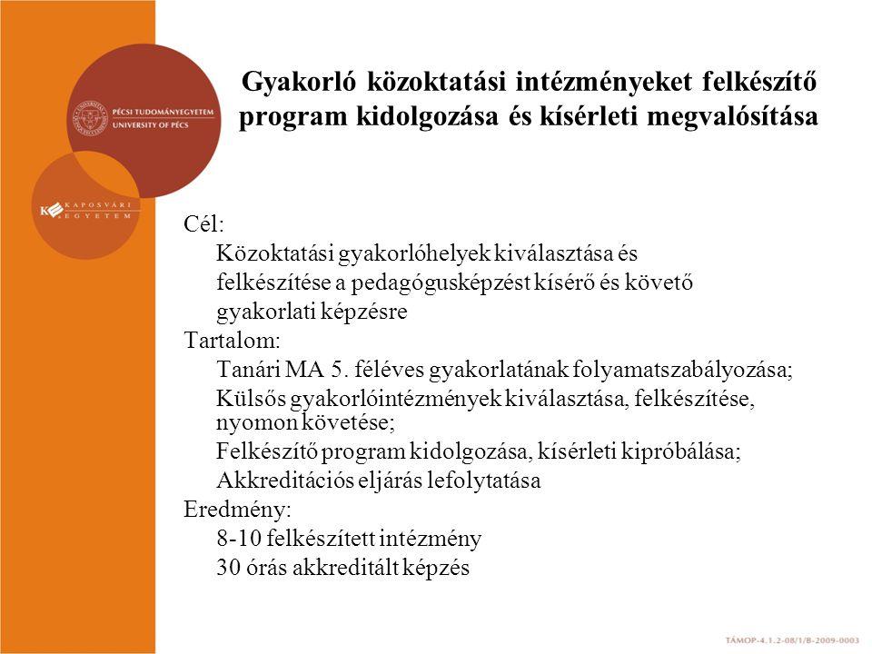 Gyakorló közoktatási intézményeket felkészítő program kidolgozása és kísérleti megvalósítása Cél: Közoktatási gyakorlóhelyek kiválasztása és felkészít