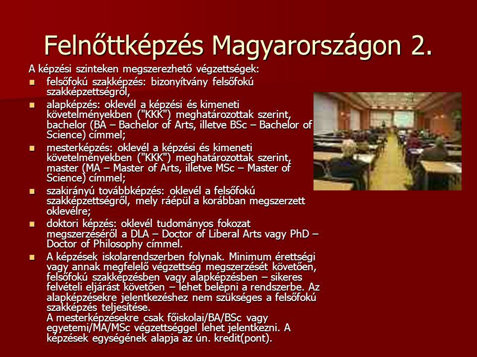 Felnőttképzés Magyarországon 2. A képzési szinteken megszerezhető végzettségek: felsőfokú szakképzés: bizonyítvány felsőfokú szakképzettségről, felsőf