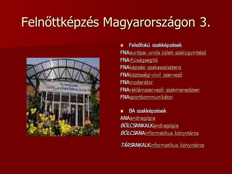 Felnőttképzés Magyarországon 3. Felsőfokú szakképzések Felsőfokú szakképzések FNAeurópai uniós üzleti szakügyintéző európai uniós üzleti szakügyintéző