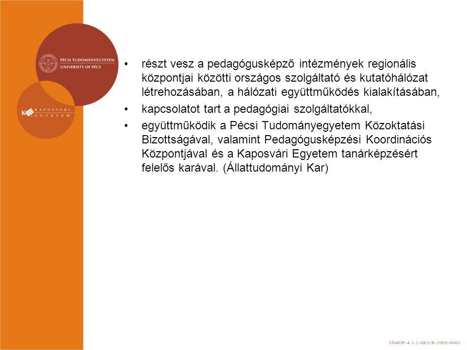 részt vesz a pedagógusképző intézmények regionális központjai közötti országos szolgáltató és kutatóhálózat létrehozásában, a hálózati együttműködés kialakításában, kapcsolatot tart a pedagógiai szolgáltatókkal, együttműködik a Pécsi Tudományegyetem Közoktatási Bizottságával, valamint Pedagógusképzési Koordinációs Központjával és a Kaposvári Egyetem tanárképzésért felelős karával.