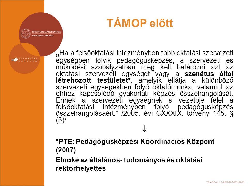 A Pedagógusképzési Koordinációs Központ (PKK) Tanácsának tagjai a pedagógusképzést folytató karok által delegált 1-1 fő, az Egyetemi Hallgatói Önkormányzat által delegált – tanár szakos hallgató – 1 fő, Az egyetem fenntartásában működő gyakorló közoktatási intézmények által delegált, a gyakorlati képzésért felelős 1 fő, az oktatási igazgató, a tanári mesterszak felelőse 2010-től a Dél-dunántúli Regionális Pedagógusképzési Szolgáltató és Kutatóközpont igazgatója.