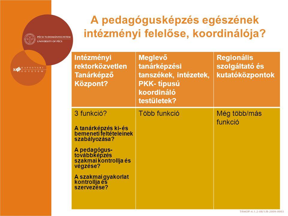 A pedagógusképzés egészének intézményi felelőse, koordinálója.