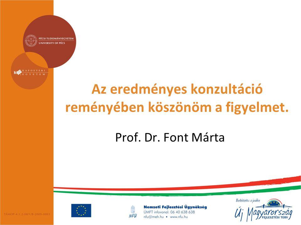 Az eredményes konzultáció reményében köszönöm a figyelmet. Prof. Dr. Font Márta
