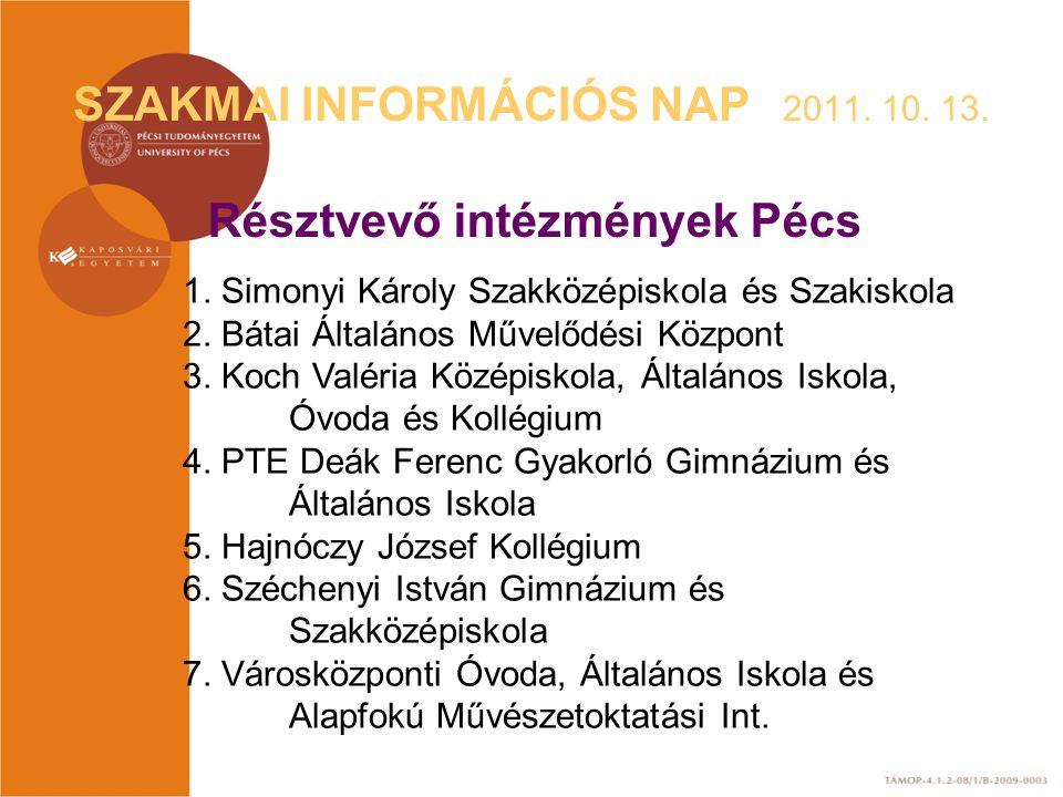 SZAKMAI INFORMÁCIÓS NAP 2011. 10. 13. Résztvevő intézmények Pécs 1. Simonyi Károly Szakközépiskola és Szakiskola 2. Bátai Általános Művelődési Központ