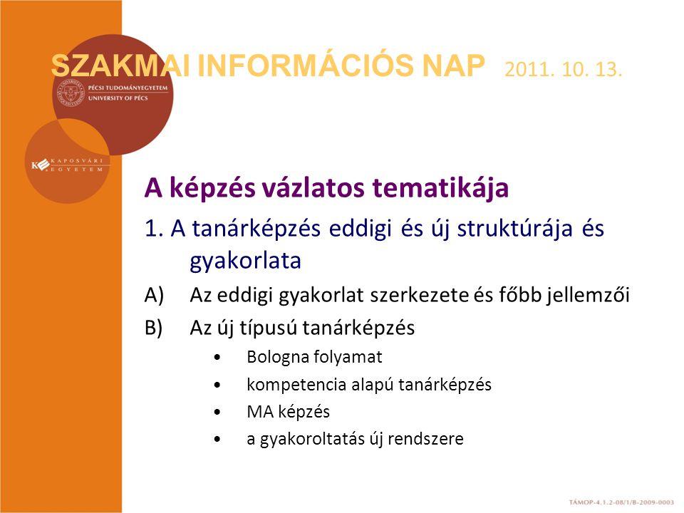 SZAKMAI INFORMÁCIÓS NAP 2011. 10. 13. A képzés vázlatos tematikája 1. A tanárképzés eddigi és új struktúrája és gyakorlata A)Az eddigi gyakorlat szerk