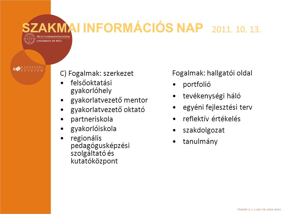 SZAKMAI INFORMÁCIÓS NAP 2011. 10. 13. C) Fogalmak: szerkezet felsőoktatási gyakorlóhely gyakorlatvezető mentor gyakorlatvezető oktató partneriskola gy