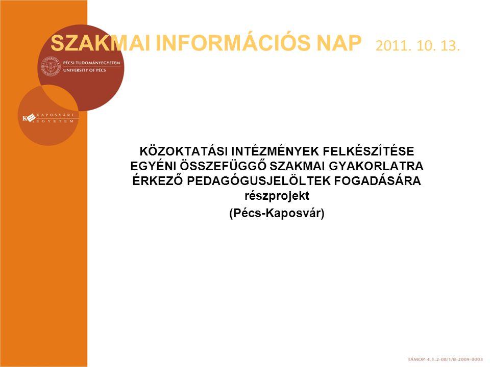 SZAKMAI INFORMÁCIÓS NAP 2011. 10. 13. KÖZOKTATÁSI INTÉZMÉNYEK FELKÉSZÍTÉSE EGYÉNI ÖSSZEFÜGGŐ SZAKMAI GYAKORLATRA ÉRKEZŐ PEDAGÓGUSJELÖLTEK FOGADÁSÁRA r
