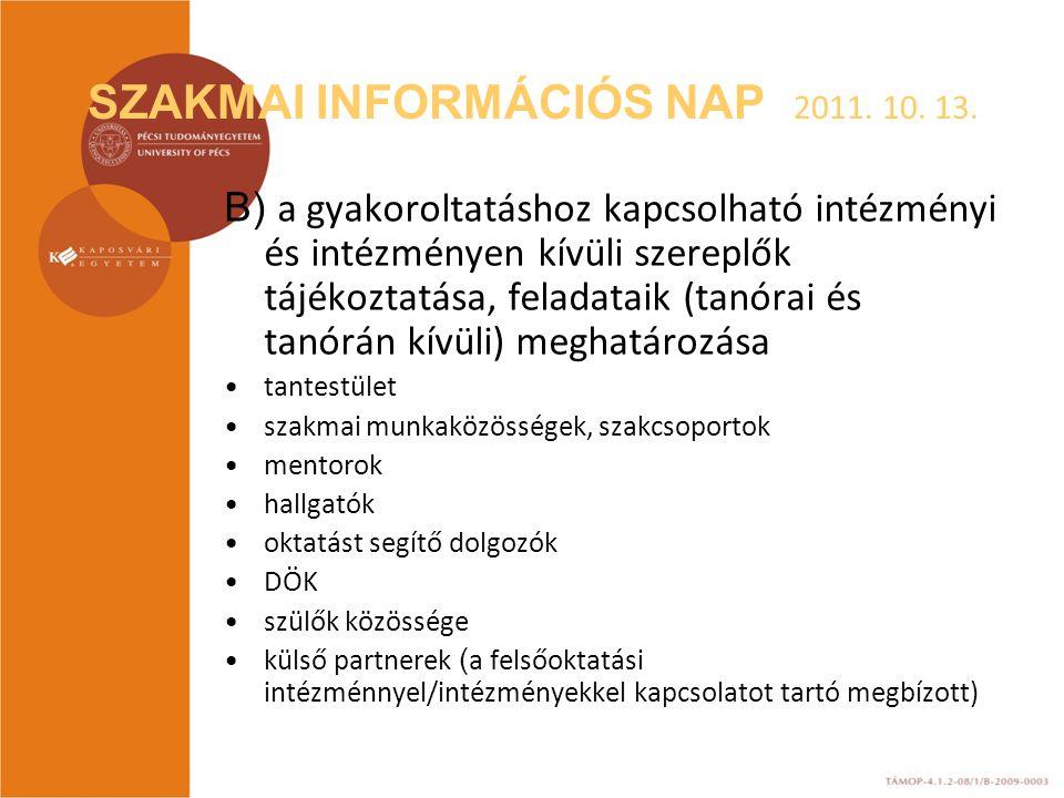 SZAKMAI INFORMÁCIÓS NAP 2011. 10. 13. B) a gyakoroltatáshoz kapcsolható intézményi és intézményen kívüli szereplők tájékoztatása, feladataik (tanórai