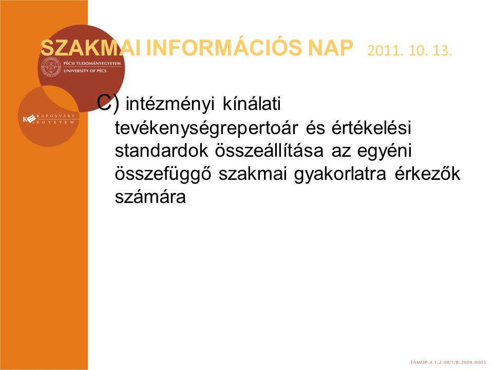 SZAKMAI INFORMÁCIÓS NAP 2011. 10. 13. C) intézményi kínálati tevékenységrepertoár és értékelési standardok összeállítása az egyéni összefüggő szakmai