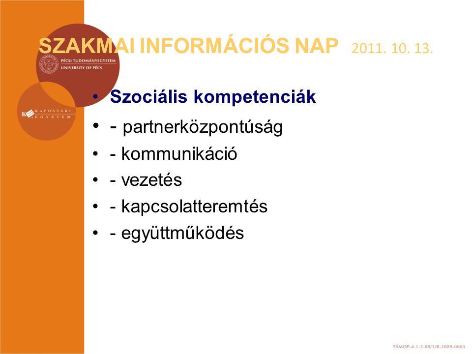 SZAKMAI INFORMÁCIÓS NAP 2011. 10. 13. Szociális kompetenciák - partnerközpontúság - kommunikáció - vezetés - kapcsolatteremtés - együttműködés