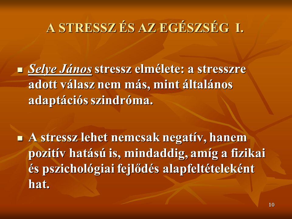 10 A CIGÁNYSÁG VÁNDORLÁSA A Z ŐSHAZA UTÁN I. A STRESSZ ÉS AZ EGÉSZSÉG I. Selye János stressz elmélete: a stresszre adott válasz nem más, mint általáno