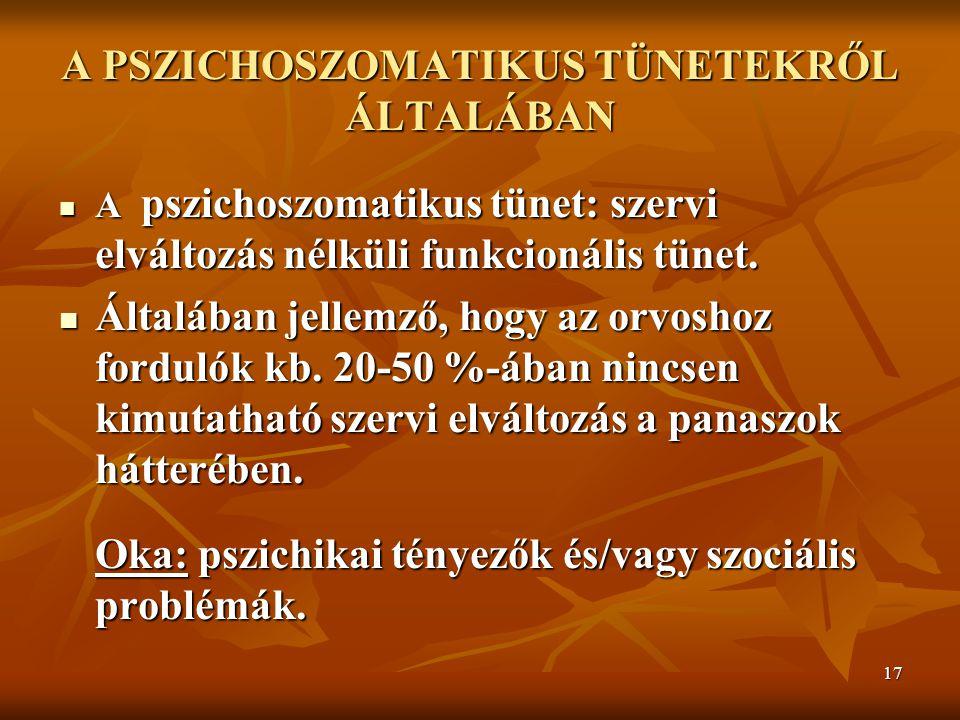 17 A PSZICHOSZOMATIKUS TÜNETEKRŐL ÁLTALÁBAN A pszichoszomatikus tünet: szervi elváltozás nélküli funkcionális tünet. A pszichoszomatikus tünet: szervi