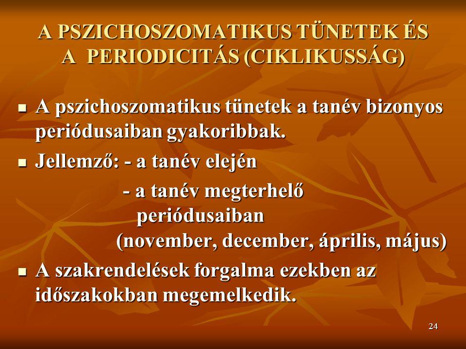 24 A PSZICHOSZOMATIKUS TÜNETEK ÉS A PERIODICITÁS (CIKLIKUSSÁG) A pszichoszomatikus tünetek a tanév bizonyos periódusaiban gyakoribbak. A pszichoszomat