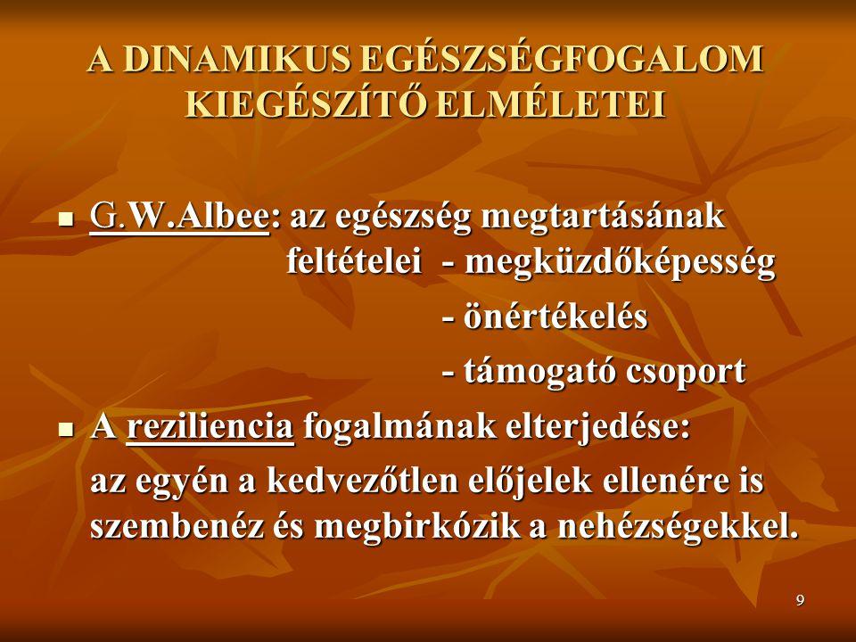 9 A CIGÁNYSÁG VÁNDORLÁSA A Z ŐSHAZA UTÁN I. A DINAMIKUS EGÉSZSÉGFOGALOM KIEGÉSZÍTŐ ELMÉLETEI G.W.Albee: az egészség megtartásának feltételei - megküzd