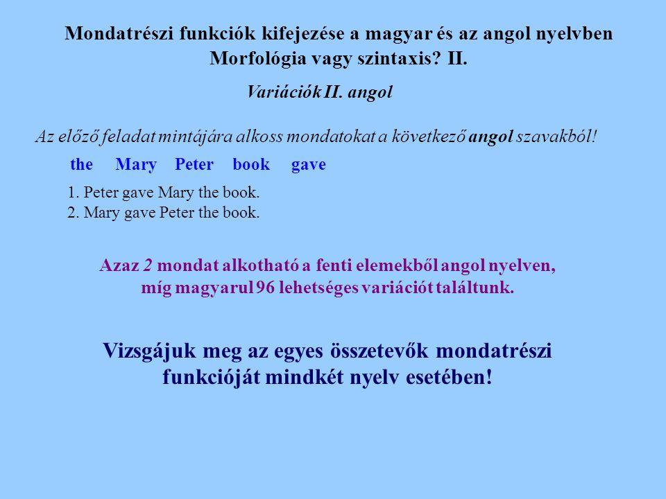 Mondatrészi funkciók kifejezése a magyar és az angol nyelvben Morfológia vagy szintaxis.
