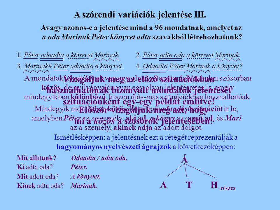 A szórendi variációk jelentése II.
