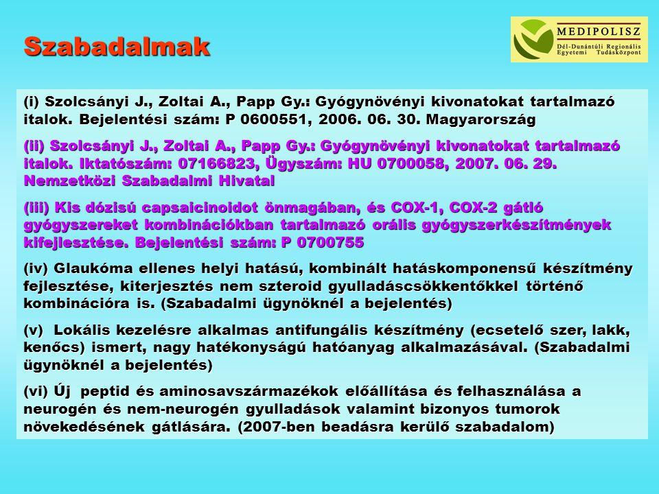 Szabadalmak (i) Szolcsányi J., Zoltai A., Papp Gy.: Gyógynövényi kivonatokat tartalmazó italok. Bejelentési szám: P 0600551, 2006. 06. 30. Magyarorszá