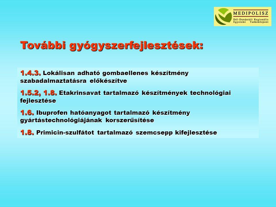 További gyógyszerfejlesztések: 1.4.3. Lokálisan adható gombaellenes készítmény szabadalmaztatásra előkészítve 1.5.2, 1.8. Etakrinsavat tartalmazó kész