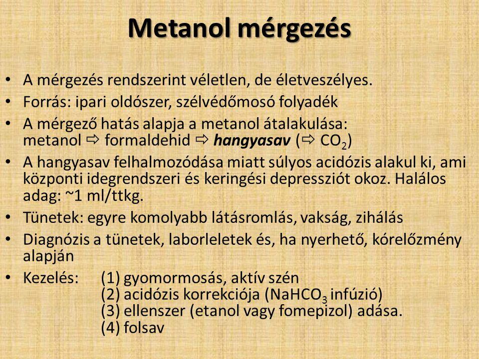Metanol mérgezés A mérgezés rendszerint véletlen, de életveszélyes. Forrás: ipari oldószer, szélvédőmosó folyadék A mérgező hatás alapja a metanol áta