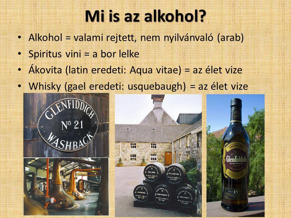 Mi is az alkohol? Alkohol = valami rejtett, nem nyilvánvaló (arab) Spiritus vini = a bor lelke Ákovita (latin eredeti: Aqua vitae) = az élet vize Whis