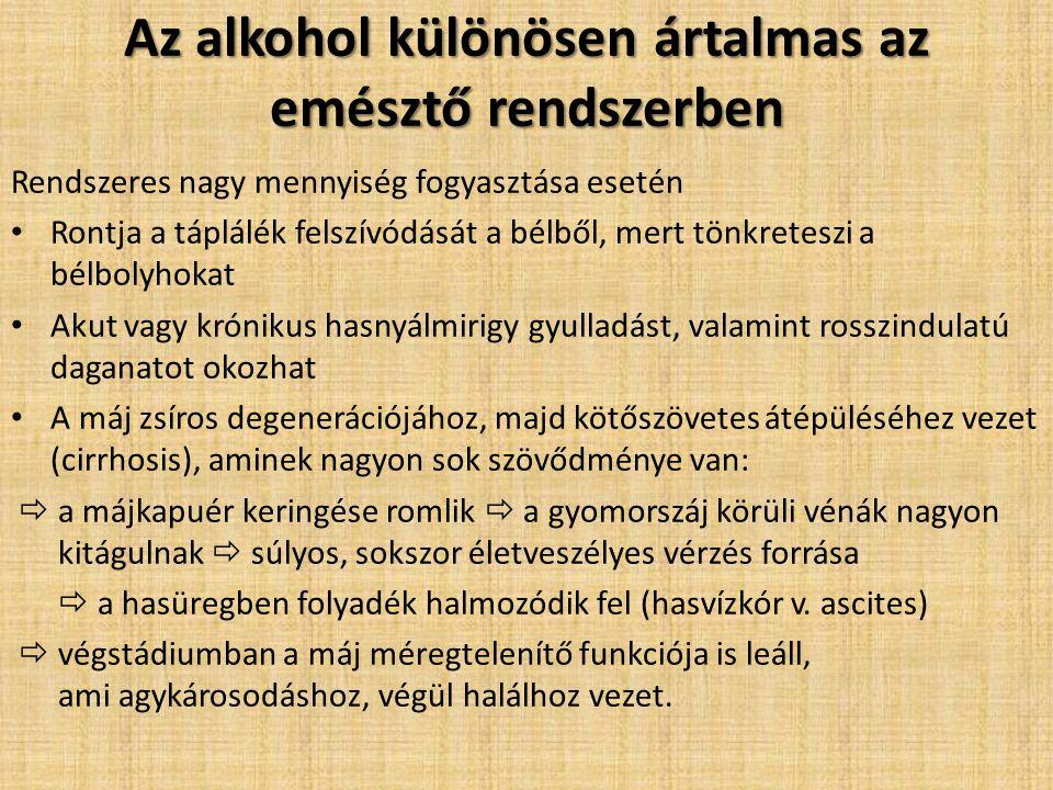 Az alkohol különösen ártalmas az emésztő rendszerben Rendszeres nagy mennyiség fogyasztása esetén Rontja a táplálék felszívódását a bélből, mert tönkr
