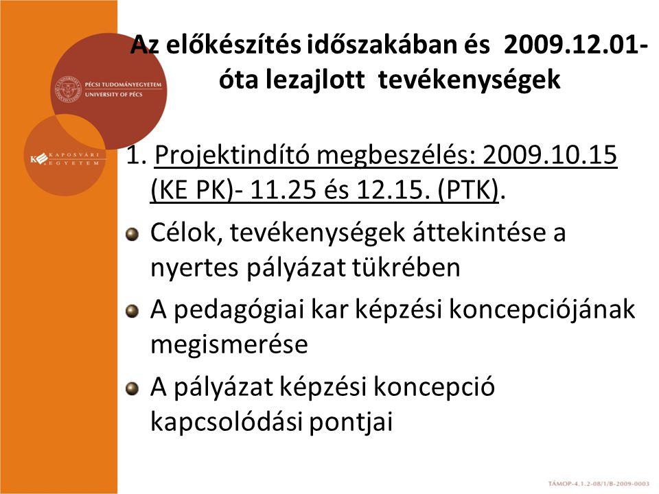 Az előkészítés időszakában és 2009.12.01- óta lezajlott tevékenységek 1. Projektindító megbeszélés: 2009.10.15 (KE PK)- 11.25 és 12.15. (PTK). Célok,